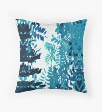 Blue Frond Leaves Botanical Mirror Throw Pillow