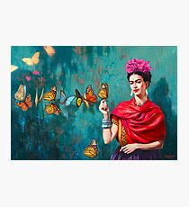 Frida Kahlo self-portrait with butterflies, pink flowers and green turquoise background grunge Photographic Print
