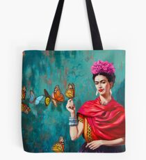 Frida Kahlo self-portrait with butterflies, pink flowers and green turquoise background grunge Tote Bag