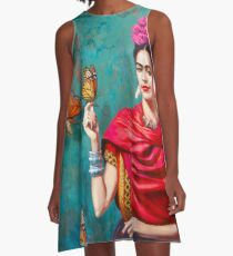Frida Kahlo self-portrait with butterflies, pink flowers and green turquoise background grunge A-Line Dress