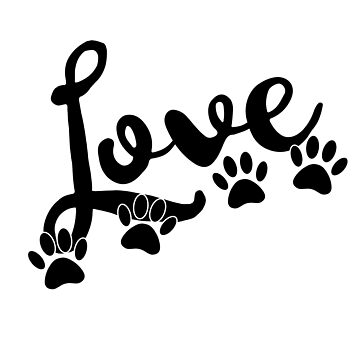 Love Typography With Dog Paw Prints by Almdrs
