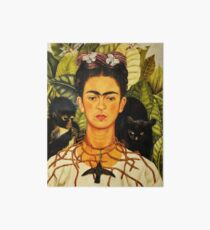 Frida Kahlo Self-Portrait with Thorn Necklace and Hummingbird Naive art Painting Art Board
