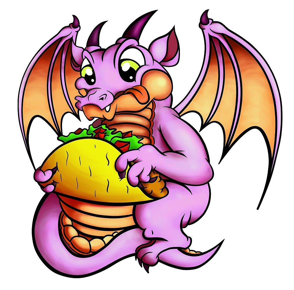 A Baby Dragon Eating a Taco by CyberCave