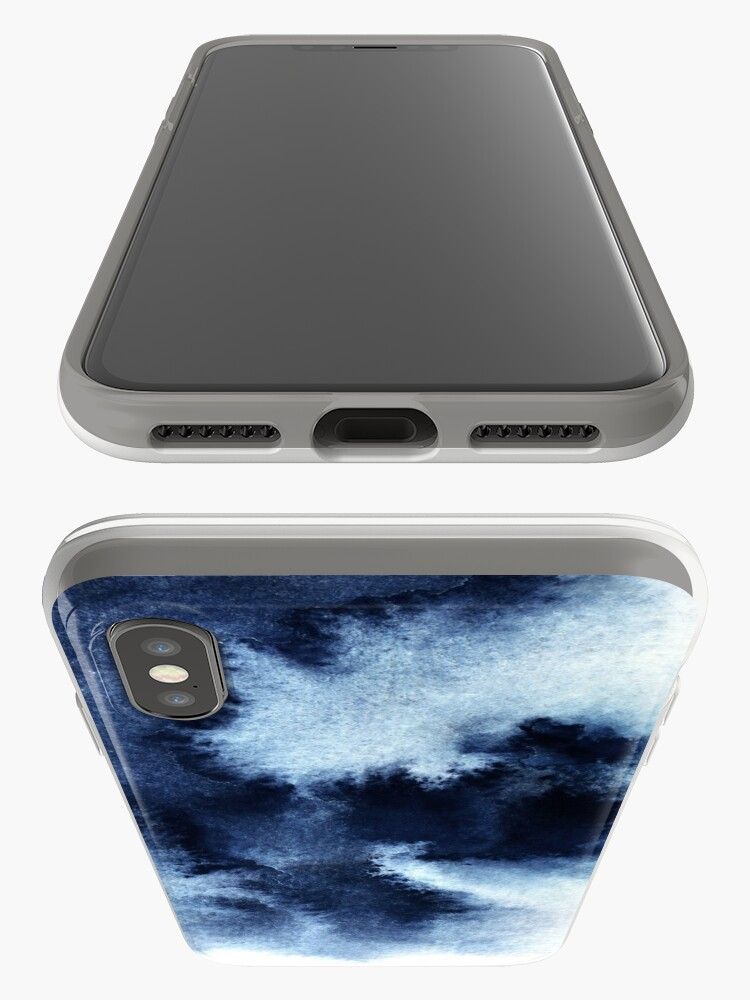 Alternate view of Indigo Nebula, Blue Abstract Painting iPhone Case & Cover