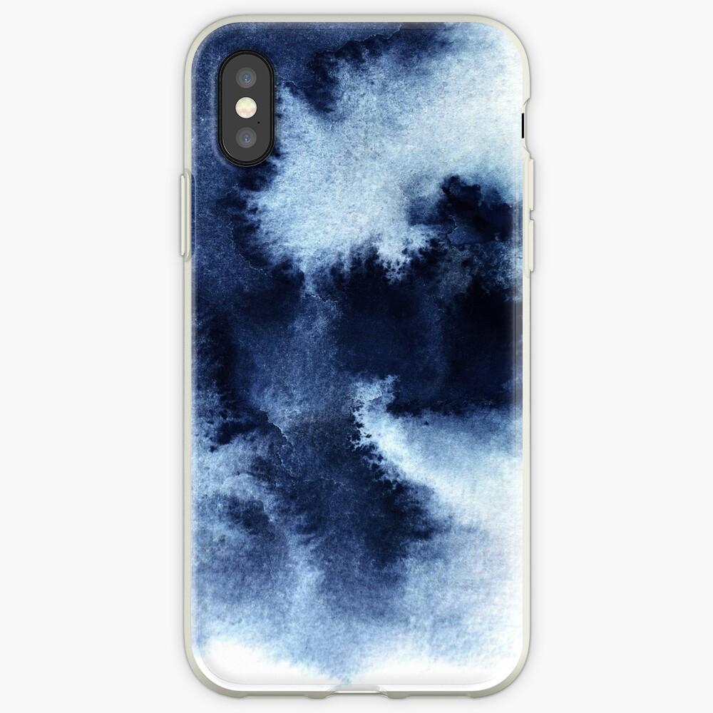 Indigo Nebula, Blue Abstract Painting iPhone Case & Cover