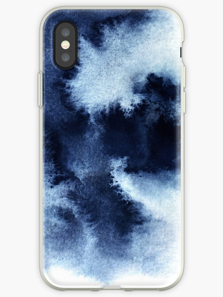Indigo Nebula Blue Abstract Painting Iphone Case By Printsproject