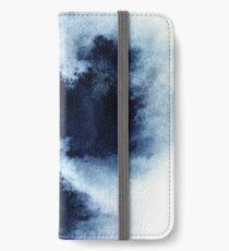 Indigo-Nebel, blaue abstrakte Malerei iPhone Flip-Case/Hülle/Klebefolie
