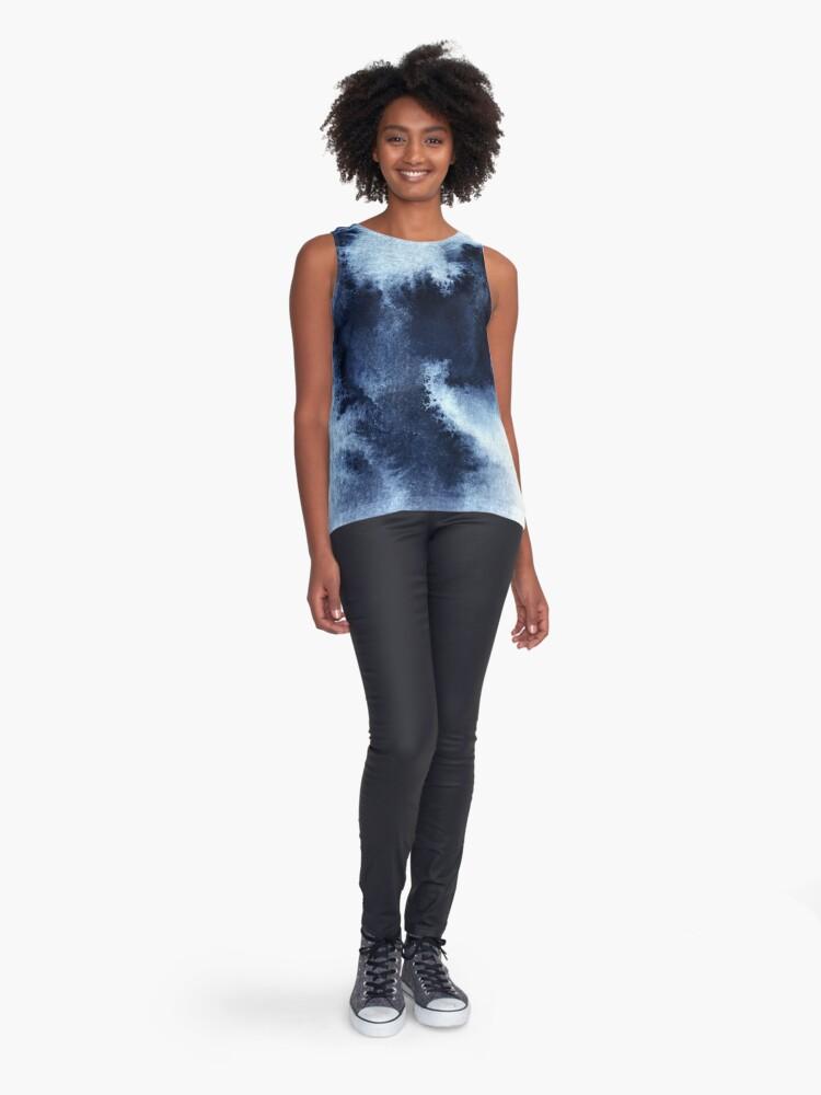 Alternate view of Indigo Nebula, Blue Abstract Painting Sleeveless Top