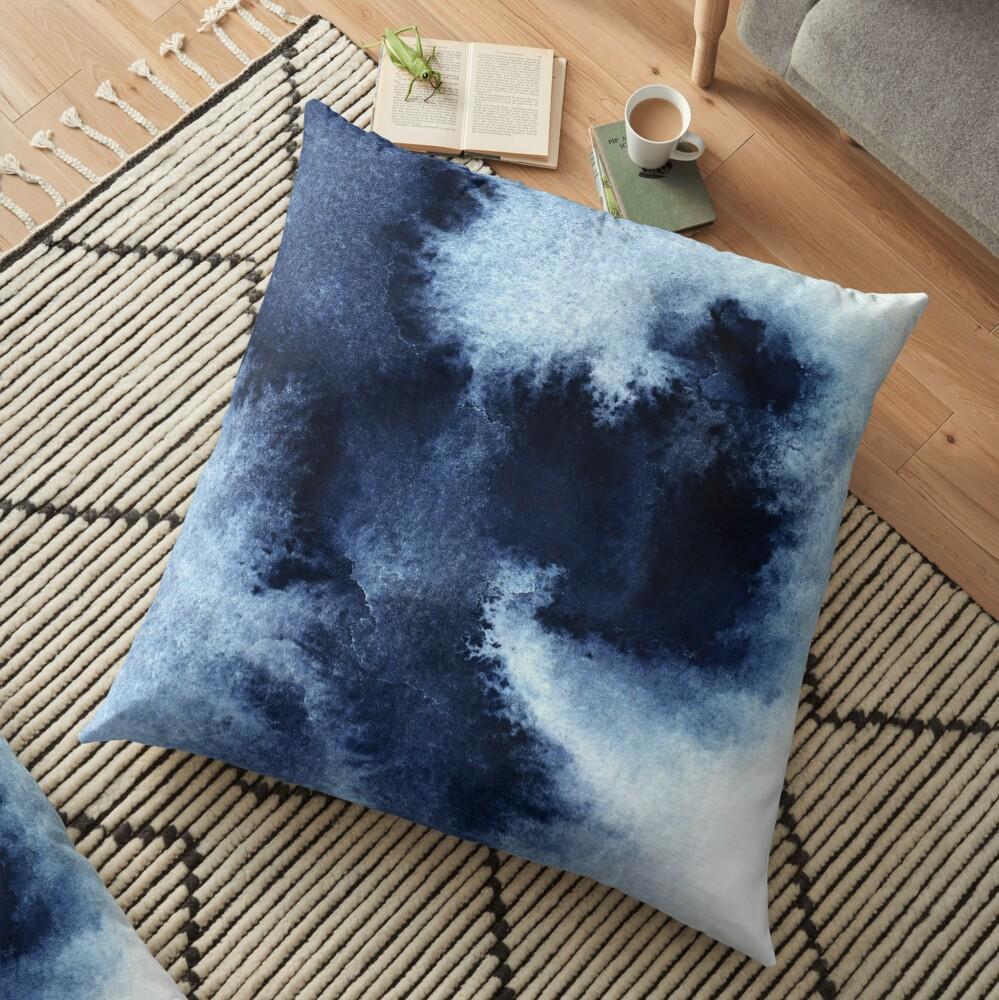 Indigo Nebula, Blue Abstract Painting Floor Pillow