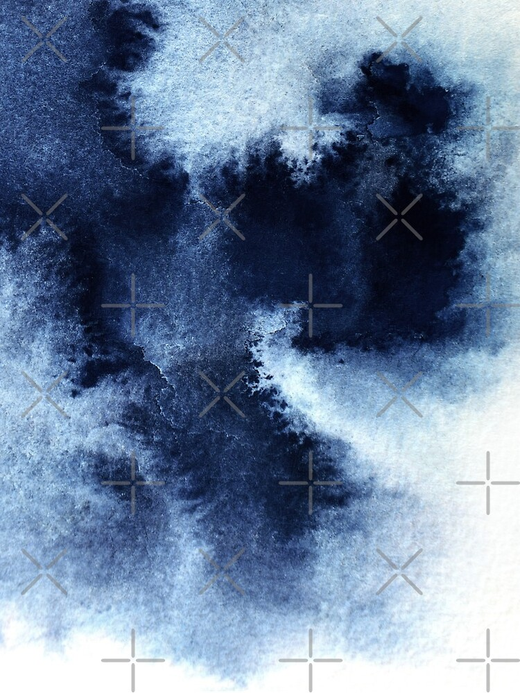 Indigo Nebula, Blue Abstract Painting by PrintsProject