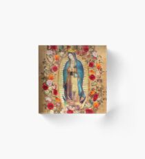 Our Lady of Guadalupe Virgin Mary Catholic Mexico Poster Acrylic Block