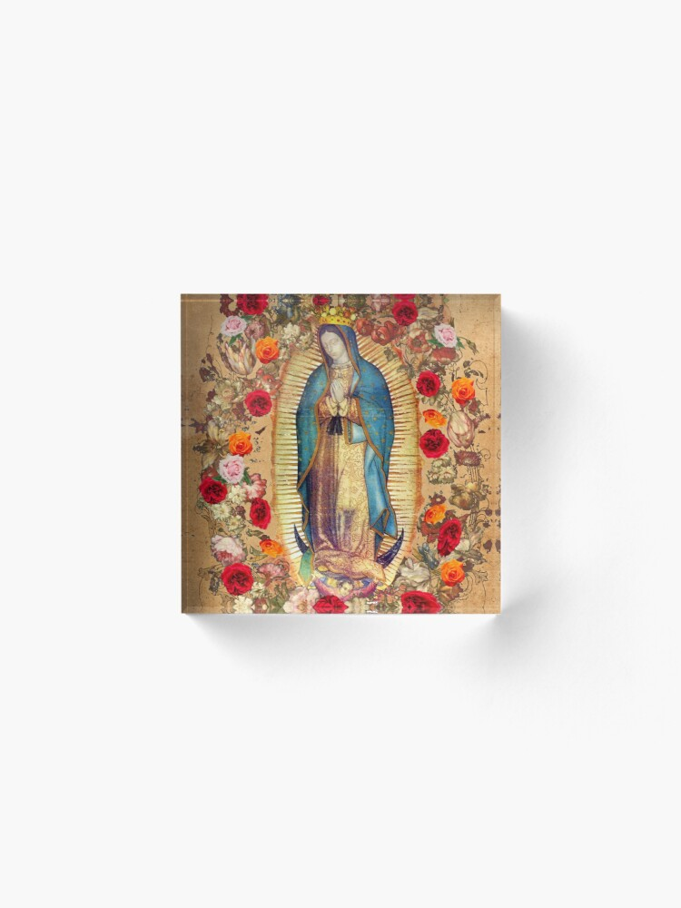 Alternate view of Our Lady of Guadalupe Virgin Mary Catholic Mexico Poster Acrylic Block