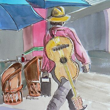 Guitarist plays colorful Mexico watercolor by Naquaiya