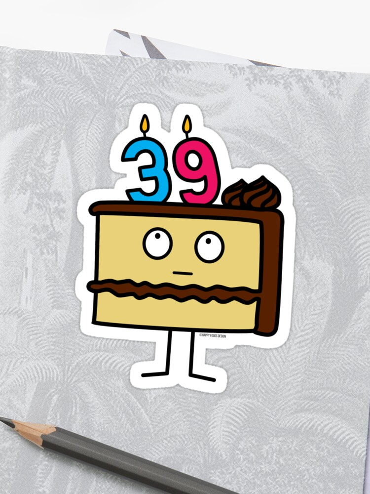 39th Birthday Cake With Candles Icing Dessert 39 Sticker
