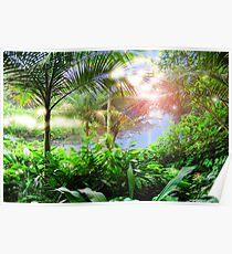 Streaming Hawaiian Sunlight Landscape Poster
