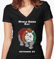 World Rhino Day Women's Fitted V-Neck T-Shirt