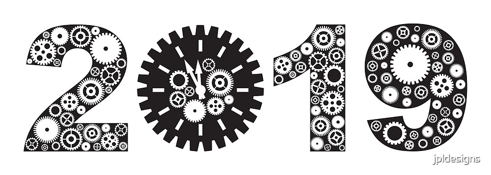 happy new year 2019 with mechanical gears and clock black and white drawing by jpldesigns