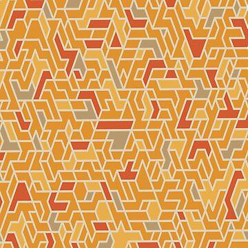 Geometric Pattern orange yellow brown by DavidMay
