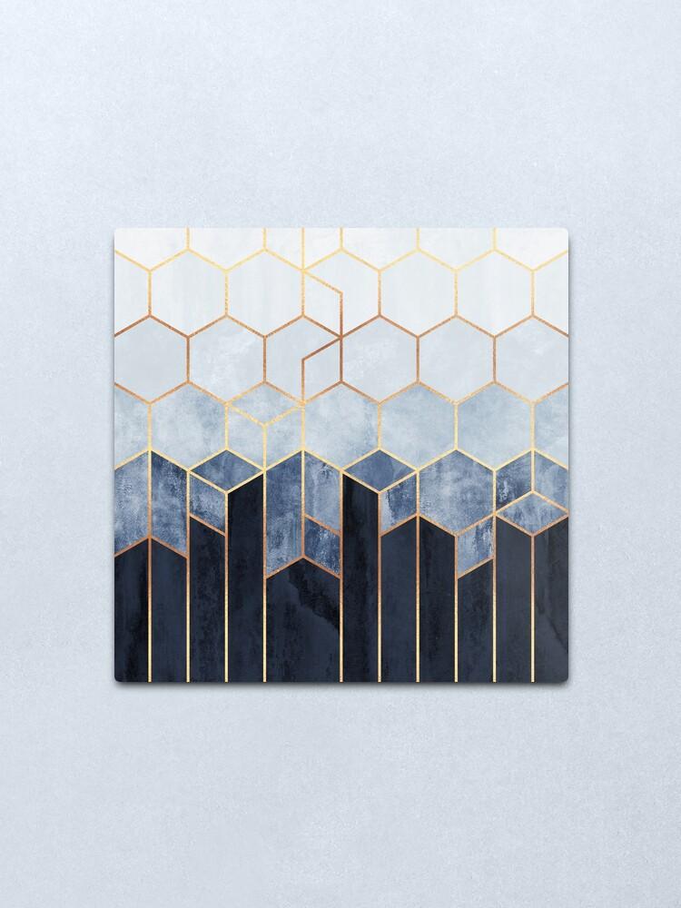 Alternate view of Soft Blue Hexagons Metal Print