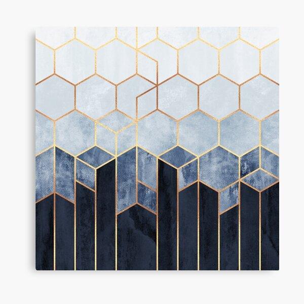 Soft Blue Hexagons Canvas Print