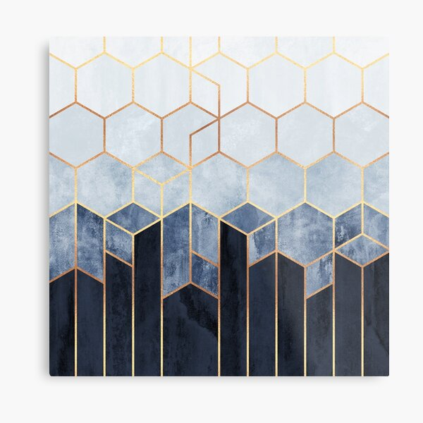 Soft Blue Hexagons Metal Print