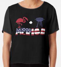 Funny Flamingo plus Barbeque Merica American Flag Blusa