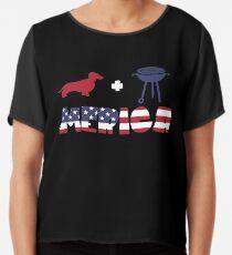Funny Dachshund plus Barbeque Merica American Flag Blusa