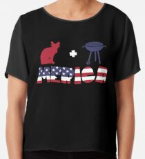Awesome Cat plus Barbeque Merica American Flag Blusa