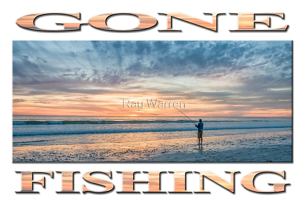 Gone Sunset Beach Fishing (poster edition) by Ray Warren