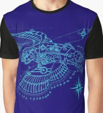 Steampunk Puffin Blueprint Graphic T-Shirt