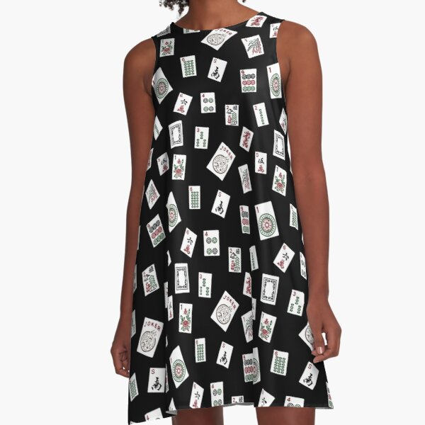 Black Mahjong A-Line Dress