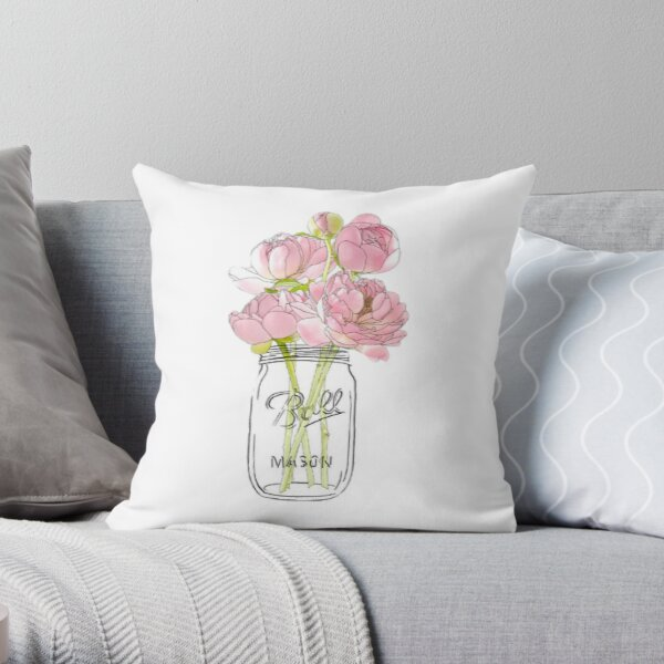 Flowers in Mason Jar Throw Pillow