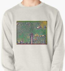 Surreal green and yellow lake pier with boats Pullover Sweatshirt