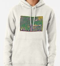 Surreal green and yellow lake pier with boats Pullover Hoodie