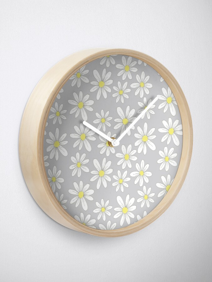 Alternate view of simple daisies on gray Clock