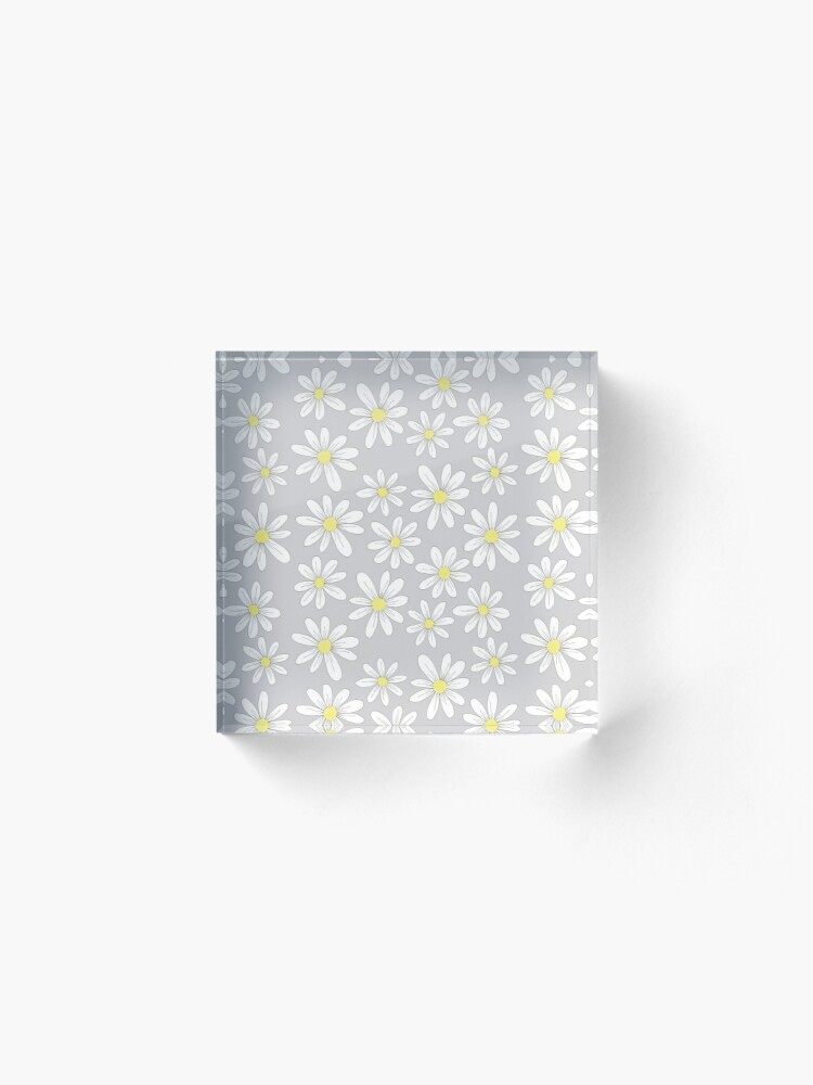 Alternate view of simple daisies on gray Acrylic Block
