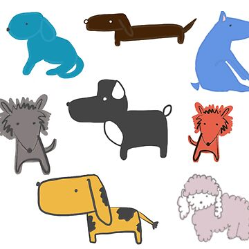 It's a Dog's World Hand-Painted Dogs Sticker Set by podartist