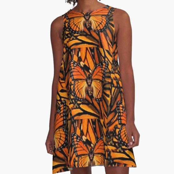 ORANGE MONARCH BUTTERFLY PATTERNED ARTWORK   A-Line Dress