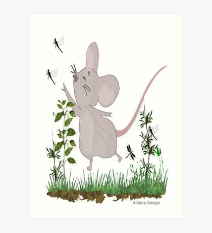 Mouse & Dragonfly /Lace & Pearls 1631 Views Art Print