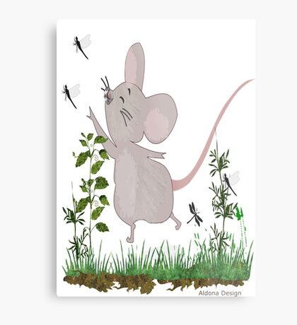Mouse & Dragonfly /Lace & Pearls 1631 Views Metal Print