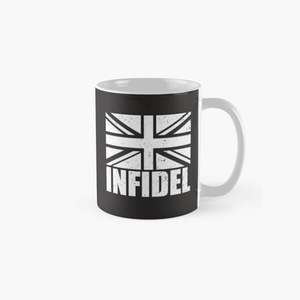 Infidel word with Union Jack British UK United Kingdom flag GRUNGE black and white on black background Brexit HD HIGH QUALITY Classic Mug