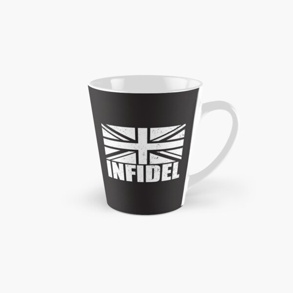 Infidel word with Union Jack British UK United Kingdom flag GRUNGE black and white on black background Brexit HD HIGH QUALITY Tall Mug