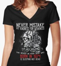 Happy Birthday Horror - Born In 1974 Women's Fitted V-Neck T-Shirt