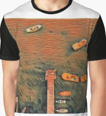 Surreal orange and black lake pier with boats Graphic T-Shirt