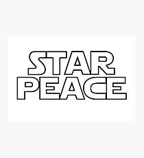 STAR PEACE (Black hollow letters - Star Wars funny parody) Photographic Print