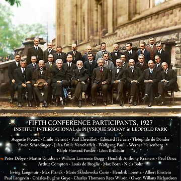 1927 Solvay Conference (spacetime bg), posters, prints by GodsAutopsy