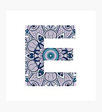 Purple Initial E Mandala Photographic Print