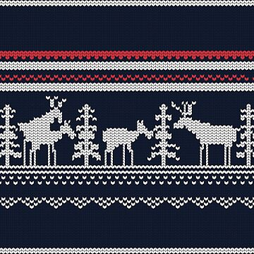 Scandinavian ugly sweater pattern funny raindeer by helgema