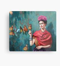 Frida Kahlo und Schmetterling Metalldruck