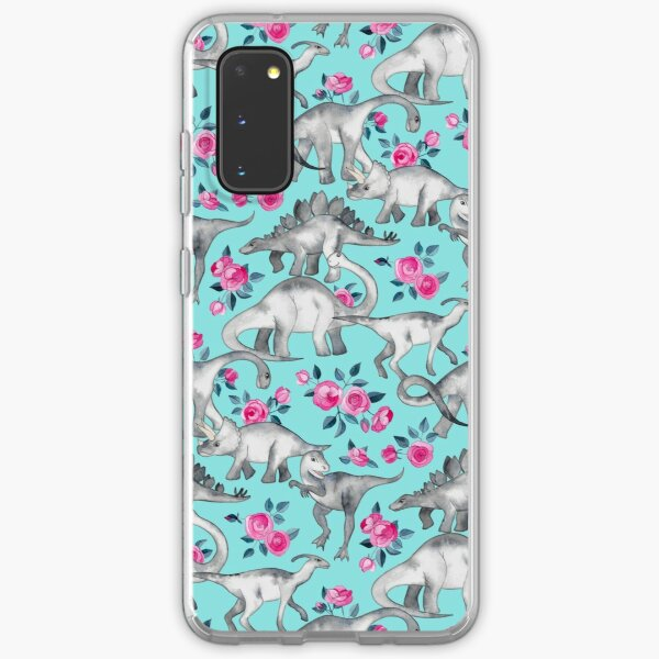 Dinosaurs and Roses – turquoise blue  Samsung Galaxy Soft Case